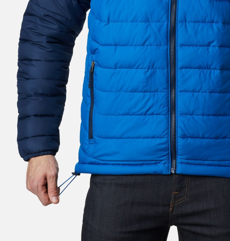 Powder Lite™ Hooded Jacket | 432 | S Men's Powder Lite™ Hooded Insulated Jacket, Bright Indigo, Collegiate Navy, a4