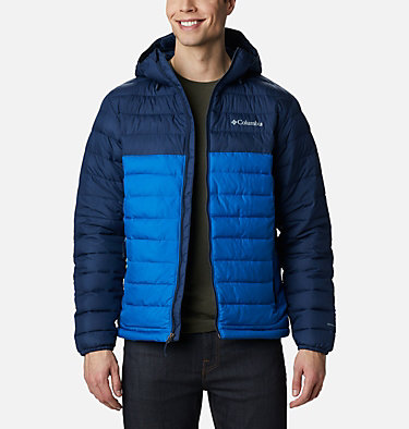 Men's Powder Lite™ Hooded Insulated Jacket Powder Lite™ Hooded Jacket | 432 | S, Bright Indigo, Collegiate Navy, front