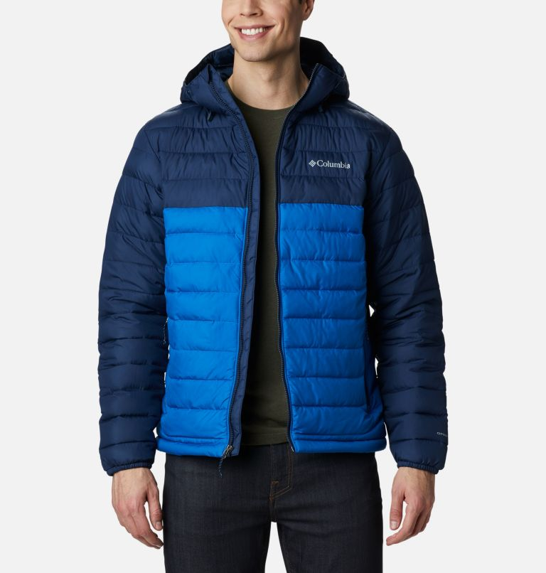 Powder Lite™ Hooded Jacket | 432 | S Men's Powder Lite™ Hooded Insulated Jacket, Bright Indigo, Collegiate Navy, front