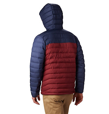 Men's Powder Lite™ Hooded Down Jacket Powder Lite™ Hooded Jacket | 043 | XS, Red Jasper, Collegiate Navy, back