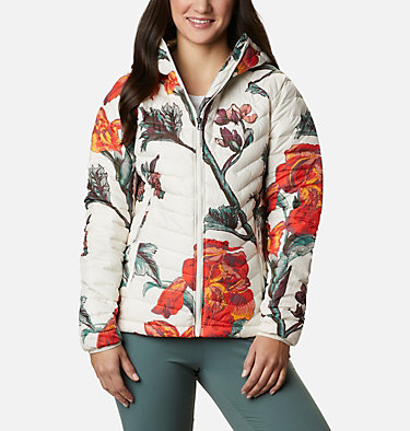Powder Lite™ Kapuzenjacke für Damen Powder Lite™ Hooded Jacket | 011 | XS, Chalk Botanica Print, front