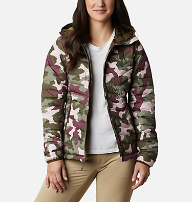Doudoune à Capuche Powder Lite™ Femme Powder Lite™ Hooded Jacket | 192 | XS, Olive Green Traditional Camo, front