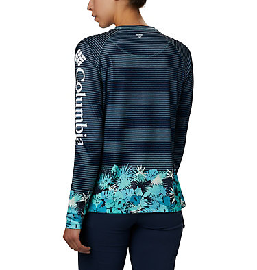 Women's PFG Super Tidal Tee™ Long Sleeve Super Tidal Tee™ Long Sleeve | 475 | XS, Dolphin Wild Stripes Print, back