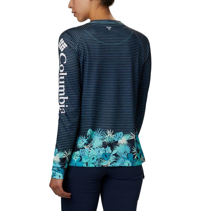 Super Tidal Tee™ Long Sleeve | 356 | S Women's PFG Super Tidal Tee™ Long Sleeve, Dolphin Wild Stripes Print, back