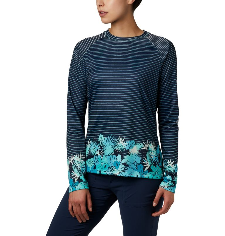 Super Tidal Tee™ Long Sleeve | 356 | S Women's PFG Super Tidal Tee™ Long Sleeve, Dolphin Wild Stripes Print, front