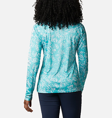 Women's PFG Super Tidal Tee™ Long Sleeve Super Tidal Tee™ Long Sleeve | 475 | XS, Dolphin Archive Palms Print, back