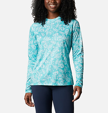 Women's PFG Super Tidal Tee™ Long Sleeve Super Tidal Tee™ Long Sleeve | 475 | XS, Dolphin Archive Palms Print, front