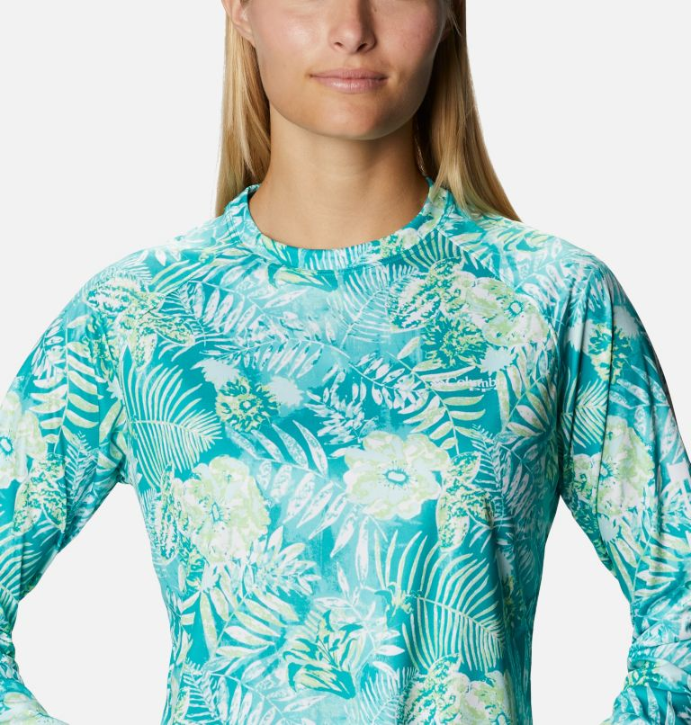Super Tidal Tee™ Long Sleeve | 361 | S Women's PFG Super Tidal Tee™ Long Sleeve, Tropic Water Batik Floral Print, a2