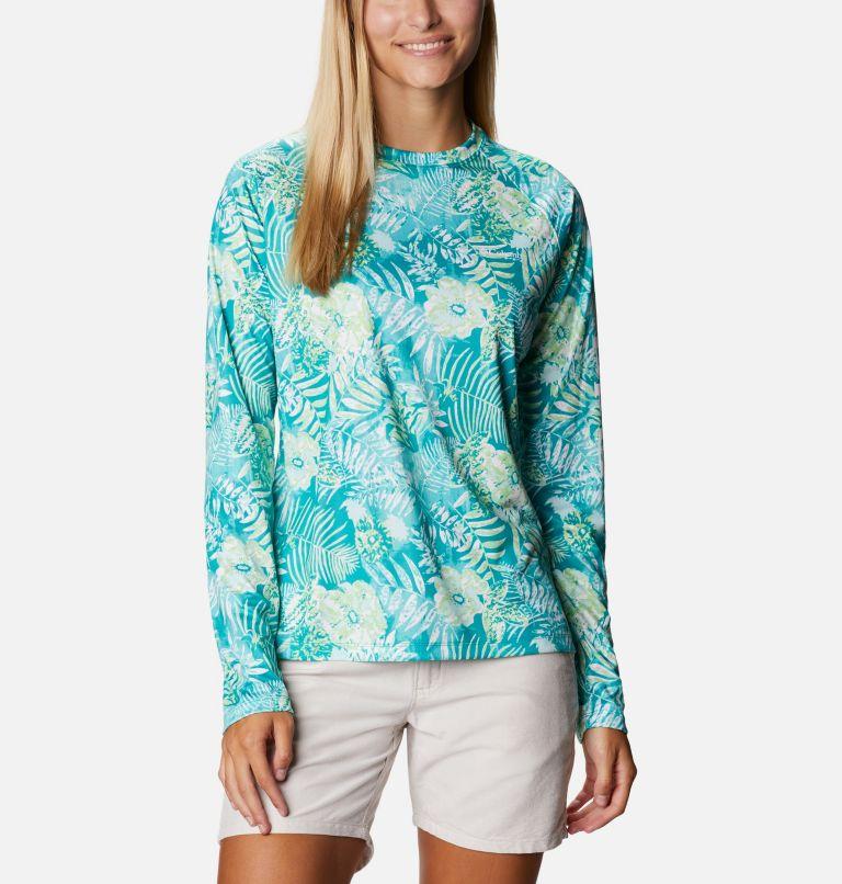 Super Tidal Tee™ Long Sleeve | 361 | S Women's PFG Super Tidal Tee™ Long Sleeve, Tropic Water Batik Floral Print, front