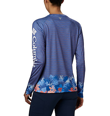 Women's PFG Super Tidal Tee™ Long Sleeve Super Tidal Tee™ Long Sleeve | 475 | XS, Stormy Blue Wild Stripes Print, back