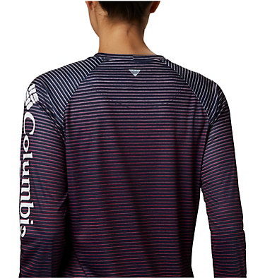 Women's PFG Super Tidal Tee™ Long Sleeve Super Tidal Tee™ Long Sleeve | 475 | XS, Collegiate Navy Wild Stripes Print, a1