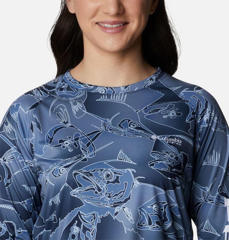 Super Tidal Tee™ Long Sleeve | 472 | XS Women's PFG Super Tidal Tee™ Long Sleeve, Collegiate Navy Fish Frenzy Print, a2