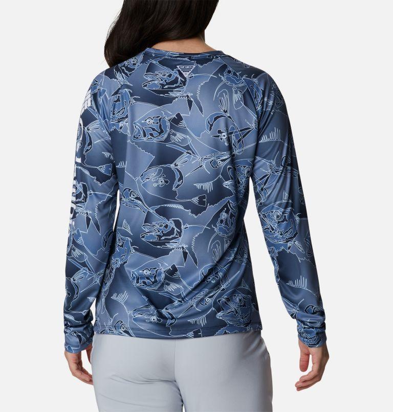 Super Tidal Tee™ Long Sleeve | 472 | XS Women's PFG Super Tidal Tee™ Long Sleeve, Collegiate Navy Fish Frenzy Print, back