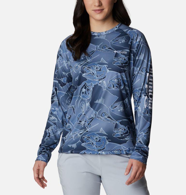 Super Tidal Tee™ Long Sleeve | 472 | XS Women's PFG Super Tidal Tee™ Long Sleeve, Collegiate Navy Fish Frenzy Print, front