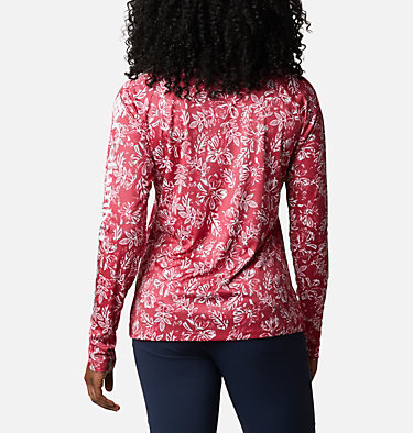 Women's PFG Super Tidal Tee™ Long Sleeve Super Tidal Tee™ Long Sleeve | 475 | XS, Red Lily Archive Palms Print, back