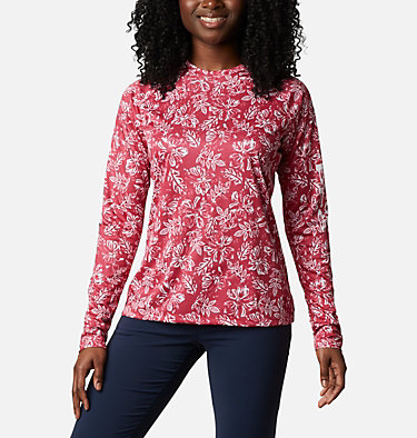 Women's PFG Super Tidal Tee™ Long Sleeve Super Tidal Tee™ Long Sleeve | 475 | XS, Red Lily Archive Palms Print, front