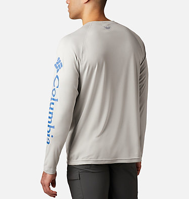 Men's PFG Terminal Tackle™ Heather Long Sleeve Shirt Terminal Tackle™ Heather LS Shirt | 490 | XXL, Cool Grey Heather, Vivid Blue Logo, back