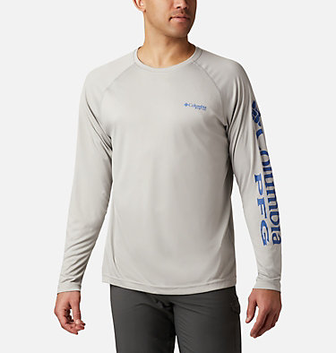 Men's PFG Terminal Tackle™ Heather Long Sleeve Shirt Terminal Tackle™ Heather LS Shirt | 490 | XXL, Cool Grey Heather, Vivid Blue Logo, front