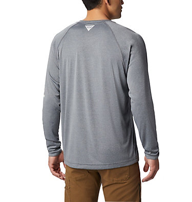 Men's PFG Terminal Tackle™ Heather Long Sleeve Shirt Terminal Tackle™ Heather LS Shirt | 490 | XXL, Charcoal Hthr, Cool Grey Logo, back