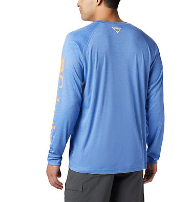 Men's PFG Terminal Tackle™ Heather Long Sleeve Shirt Terminal Tackle™ Heather LS Shirt | 490 | XXL, Vivid Blue Hthr, Jupiter Logo, back