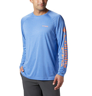 Men's PFG Terminal Tackle™ Heather Long Sleeve Shirt Terminal Tackle™ Heather LS Shirt | 490 | XXL, Vivid Blue Hthr, Jupiter Logo, front