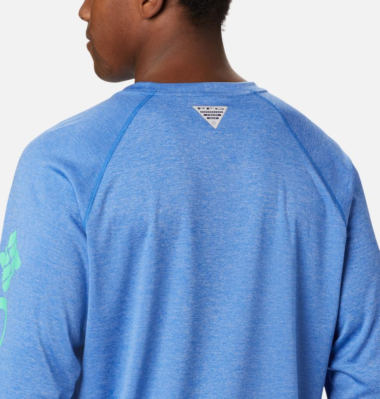 Terminal Tackle™ Heather LS Shirt | 490 | M Haut chiné à manches longues Terminal Tackle™ pour homme, Vivid Blue Heather, Winter Green Logo, a3