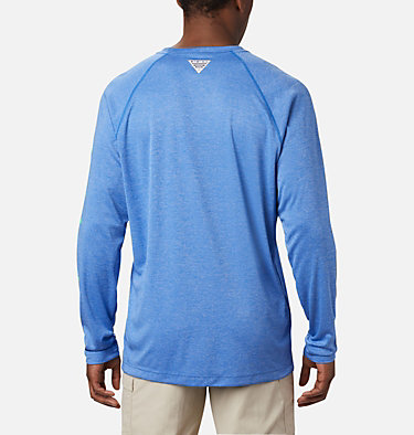 Men's PFG Terminal Tackle™ Heather Long Sleeve Shirt Terminal Tackle™ Heather LS Shirt | 490 | XXL, Vivid Blue Heather, Winter Green Logo, back