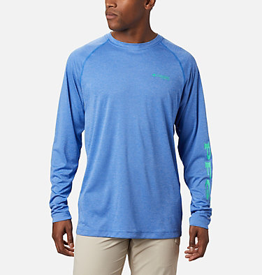 Men's PFG Terminal Tackle™ Heather Long Sleeve Shirt Terminal Tackle™ Heather LS Shirt | 490 | XXL, Vivid Blue Heather, Winter Green Logo, front
