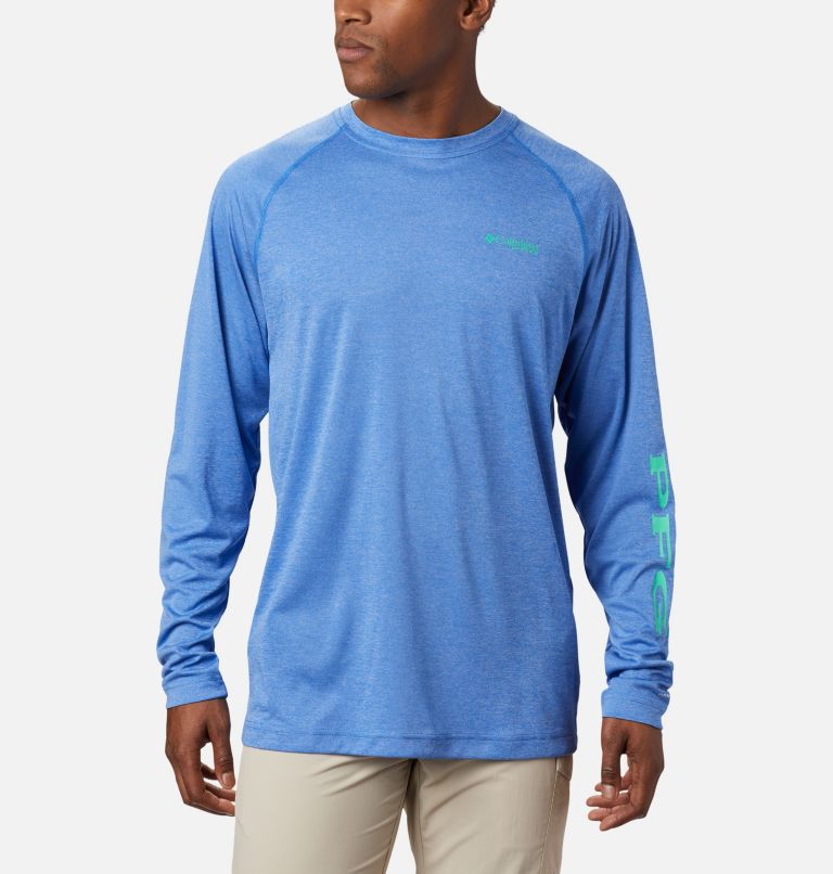 Terminal Tackle™ Heather LS Shirt | 490 | M Haut chiné à manches longues Terminal Tackle™ pour homme, Vivid Blue Heather, Winter Green Logo, front
