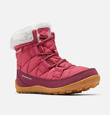 Big Kids' Minx™ Shorty Omni-Heat™ Waterproof Boot YOUTH MINX™ SHORTY OMNI-HEAT™  | 010 | 1, Dark Fuchsia, Grey Ice, 3/4 front