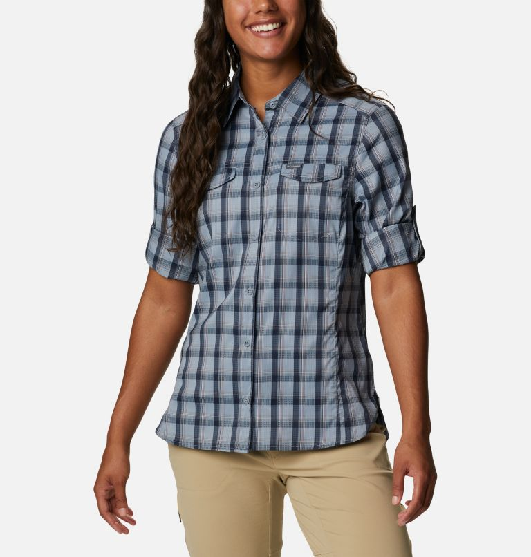 Silver Ridge™ Lite Plaid LS Shirt | 035 | L Women's Silver Ridge™ Lite Plaid Long Sleeve Shirt, Tradewinds Grey Plaid, a5