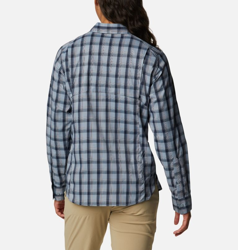 Silver Ridge™ Lite Plaid LS Shirt | 035 | L Women's Silver Ridge™ Lite Plaid Long Sleeve Shirt, Tradewinds Grey Plaid, back