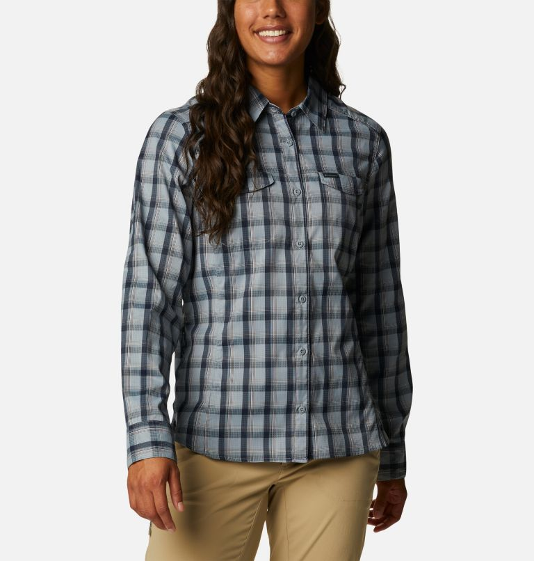 Silver Ridge™ Lite Plaid LS Shirt | 035 | L Women's Silver Ridge™ Lite Plaid Long Sleeve Shirt, Tradewinds Grey Plaid, front
