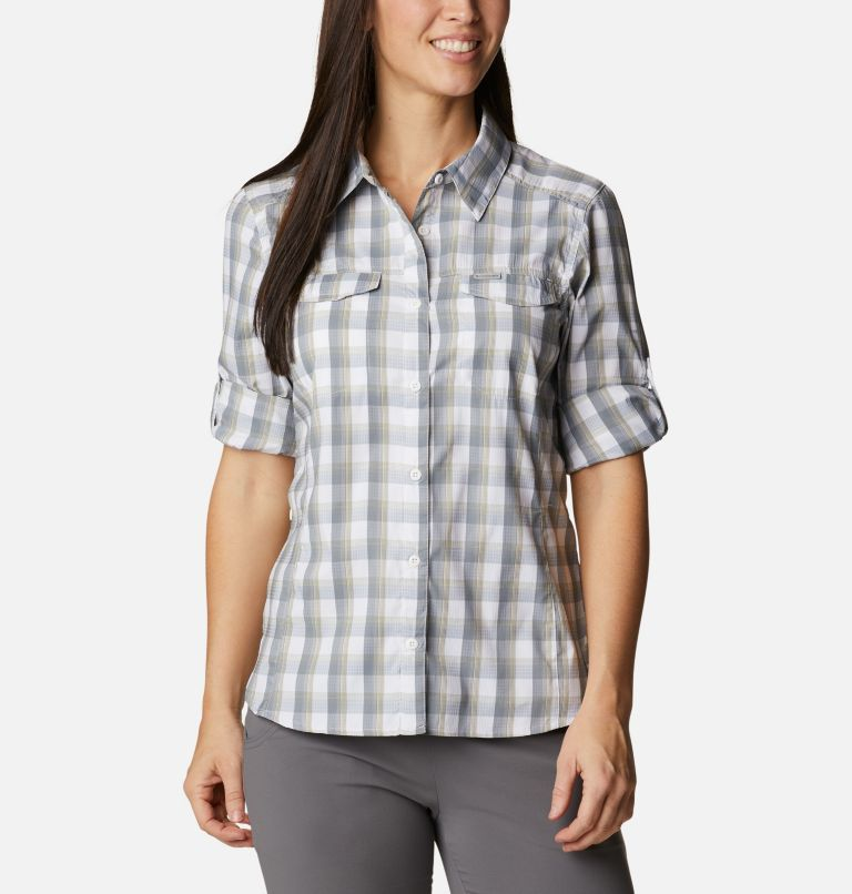 Silver Ridge™ Lite Plaid LS Shirt | 102 | L Women's Silver Ridge™ Lite Plaid Long Sleeve Shirt, White Plaid, a5