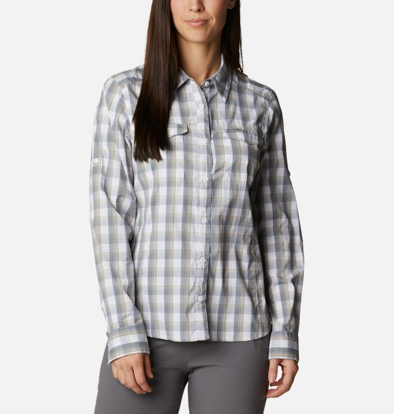 Silver Ridge™ Lite Plaid LS Shirt | 102 | L Women's Silver Ridge™ Lite Plaid Long Sleeve Shirt, White Plaid, front