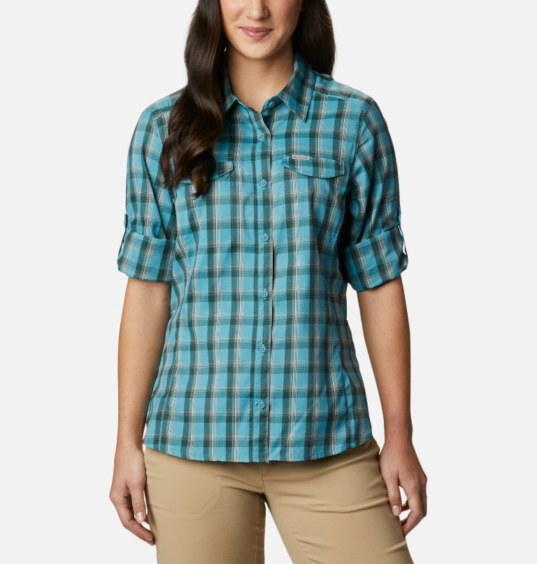 Silver Ridge™ Lite Plaid LS Shirt | 430 | XXL Women's Silver Ridge™ Lite Plaid Long Sleeve Shirt, Canyon Blue Plaid, a5