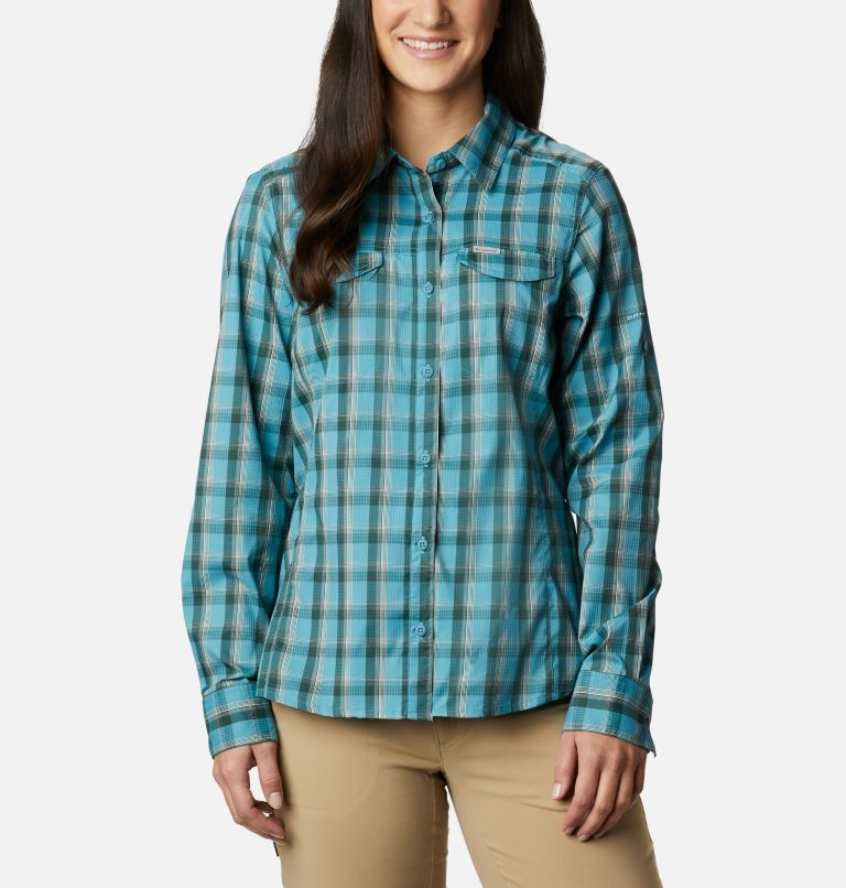 Silver Ridge™ Lite Plaid LS Shirt | 430 | XS Women's Silver Ridge™ Lite Plaid Long Sleeve Shirt, Canyon Blue Plaid, front