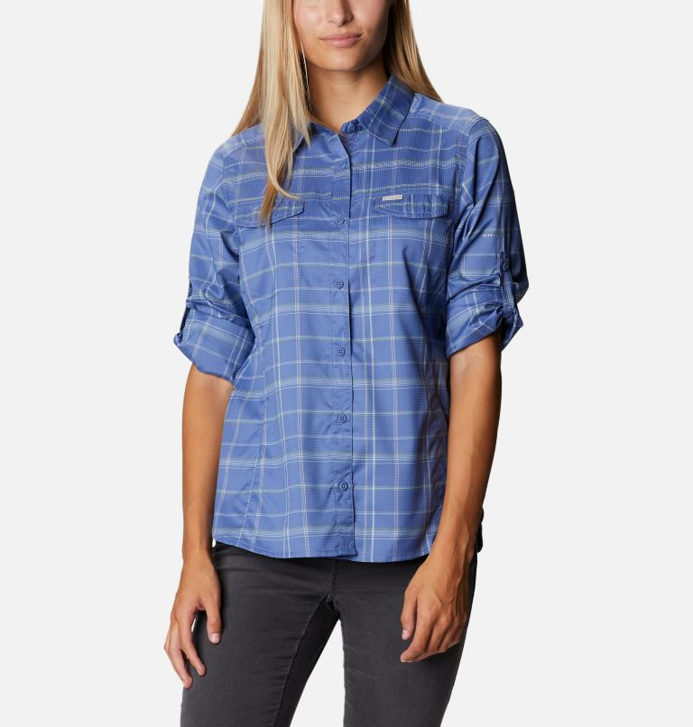 Silver Ridge™ Lite Plaid LS Shirt   458   M Women's Silver Ridge™ Lite Plaid Long Sleeve Shirt, Velvet Cove Grid Lines, a5