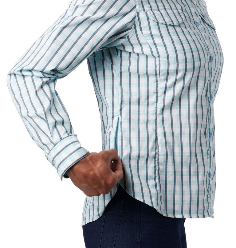 Silver Ridge™ Lite Plaid LS Shirt | 490 | S Women's Silver Ridge™ Lite Plaid Long Sleeve Shirt, Spring Blue Gingham Plaid, a4