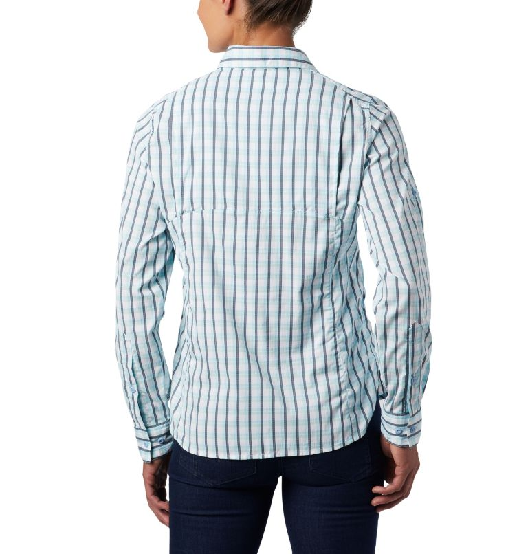 Silver Ridge™ Lite Plaid LS Shirt | 490 | L Women's Silver Ridge™ Lite Plaid Long Sleeve Shirt, Spring Blue Gingham Plaid, back