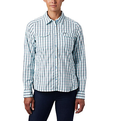 Women's Silver Ridge™ Lite Plaid Long Sleeve Shirt Silver Ridge™ Lite Plaid LS Shirt   035   L, Spring Blue Gingham Plaid, front