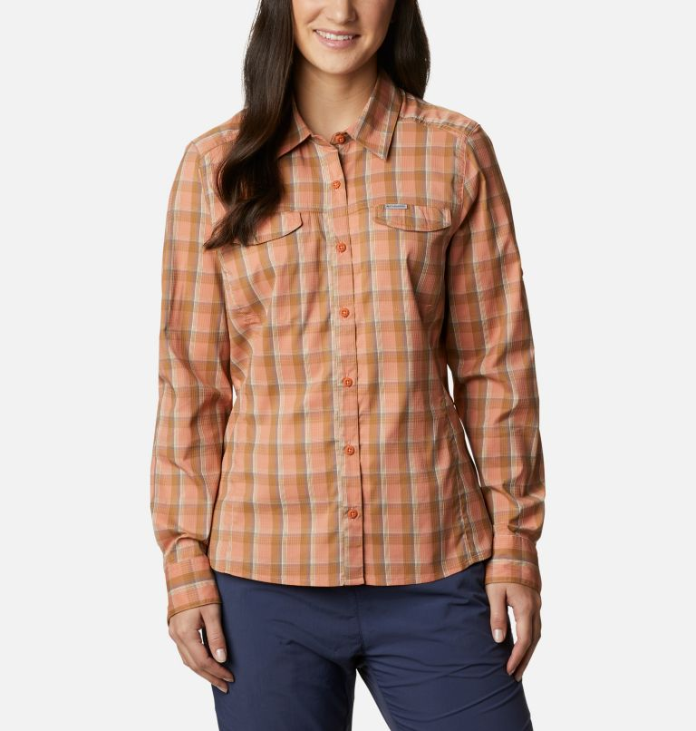 Silver Ridge™ Lite Plaid LS Shirt | 604 | XL Women's Silver Ridge™ Lite Plaid Long Sleeve Shirt, Nova Pink Plaid, front