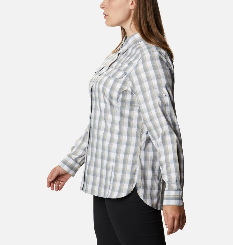 Silver Ridge™ Lite Plaid LS Shirt | 102 | 1X Women's Silver Ridge™ Lite Plaid Long Sleeve Shirt – Plus Size, White Plaid, a1