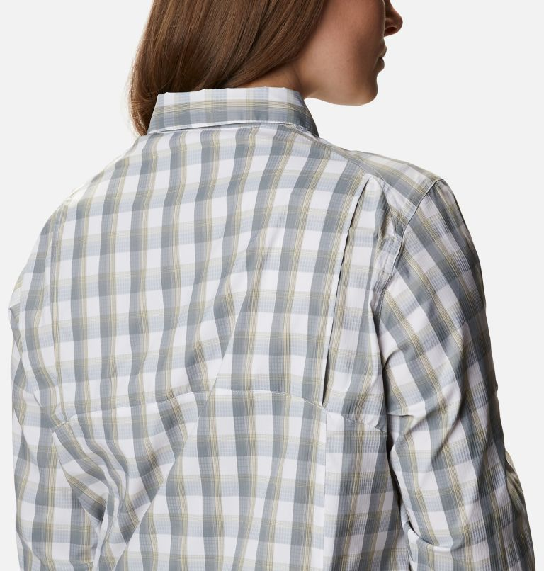 Silver Ridge™ Lite Plaid LS Shirt | 102 | 1X Women's Silver Ridge™ Lite Plaid Long Sleeve Shirt – Plus Size, White Plaid, a3
