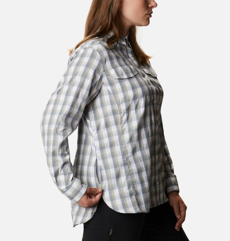 Silver Ridge™ Lite Plaid LS Shirt | 102 | 1X Women's Silver Ridge™ Lite Plaid Long Sleeve Shirt – Plus Size, White Plaid, a4