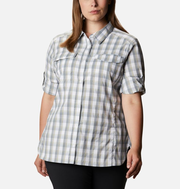 Silver Ridge™ Lite Plaid LS Shirt | 102 | 1X Women's Silver Ridge™ Lite Plaid Long Sleeve Shirt – Plus Size, White Plaid, a5