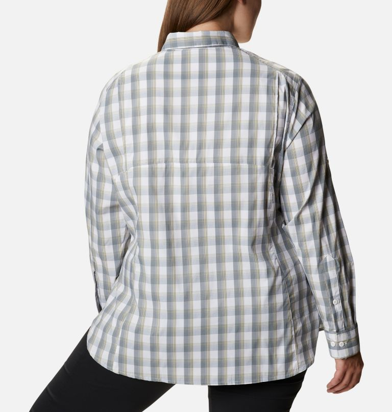 Silver Ridge™ Lite Plaid LS Shirt | 102 | 1X Women's Silver Ridge™ Lite Plaid Long Sleeve Shirt – Plus Size, White Plaid, back