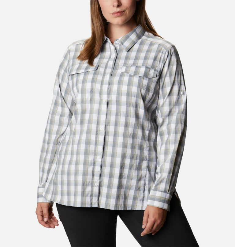 Silver Ridge™ Lite Plaid LS Shirt | 102 | 1X Women's Silver Ridge™ Lite Plaid Long Sleeve Shirt – Plus Size, White Plaid, front