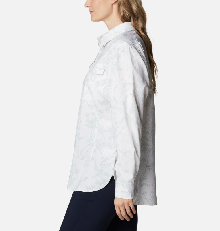 Silver Ridge™ Lite Plaid LS Shirt | 104 | 1X Women's Silver Ridge™ Lite Plaid Long Sleeve Shirt – Plus Size, White Art Bouquet, a1