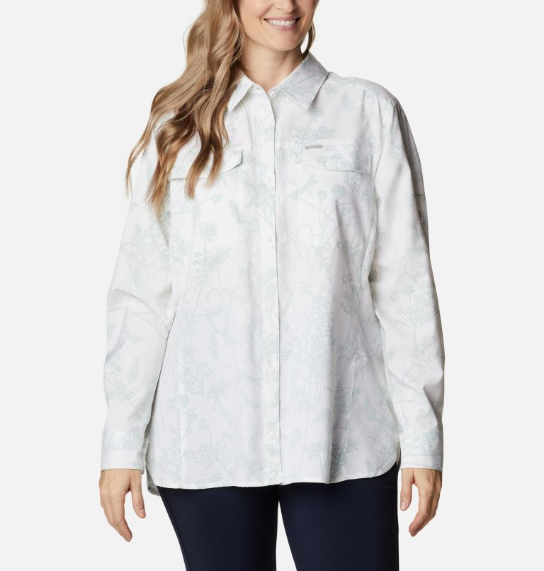 Silver Ridge™ Lite Plaid LS Shirt | 104 | 1X Women's Silver Ridge™ Lite Plaid Long Sleeve Shirt – Plus Size, White Art Bouquet, front